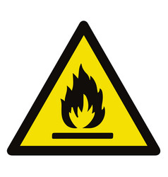 fire warning sign in yellow triangle flammable vector image