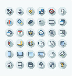 flat color thin line icons set with digital vector image