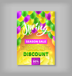 Flyer spring sale discount percent balloon vector