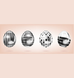 Four silver eggs on the pink background isolated vector