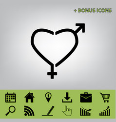 gender signs in heart shape black icon at vector image