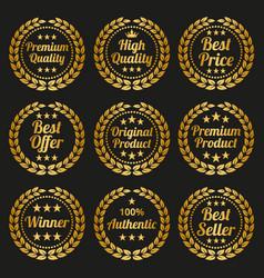 golden laurel wreath set on black background vector image