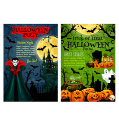 halloween party banner with pumpkin and vampire vector image