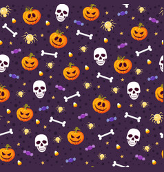 halloween pumpkin and skull seamless pattern vector image