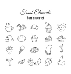 Hand drawn sweet pastry set Bakery vector image