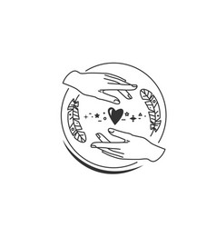 hands with feather heart and design element vector image