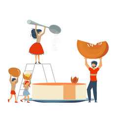 Happy family cooking together a pumpkin pie vector
