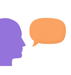 human head silhouette talking through speech vector image