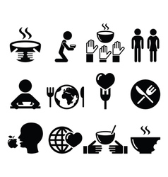 Hunger starvation poverty icons set vector