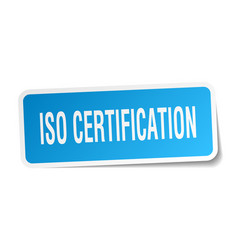 Iso certification square sticker on white vector