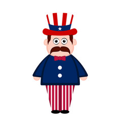 Isolated man with an american party hat vector