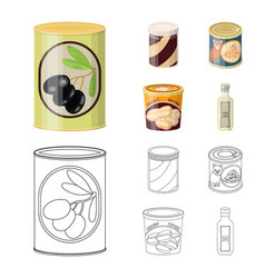 Isolated object of can and food sign set of can vector
