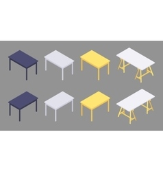 Isometric colored tables vector image