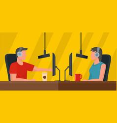 live radio studio banner horizontal flat style vector image