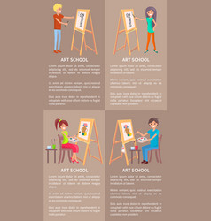 Man and woman drawing pictures on easel by pencils vector
