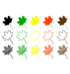 maple leaf color set vector image