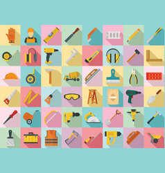 masonry worker icon set flat style vector image