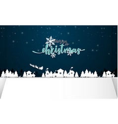 merry christmas winter snow with night countryside vector image