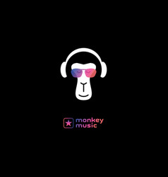 monkey enjoys music in headphones relaxing vector image