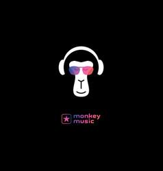 Monkey enjoys music in headphones relaxing vector
