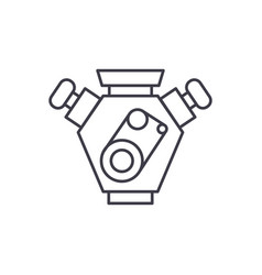 motor cars line icon concept motor cars vector image