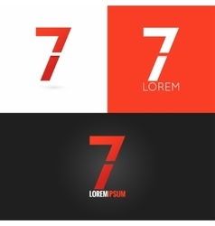 Number seven 7 logo design icon set background vector