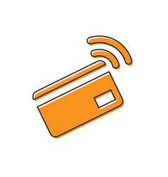 Orange contactless payment with nfc card icon vector