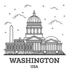 Outline washington dc usa city skyline vector
