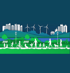 paper eco city happy families in park vector image