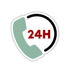 Paper sticker on white background hotline vector