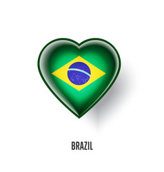 patriotic heart symbol with brazil flag vector image
