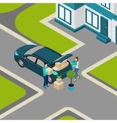 People moving from house isometric banner vector