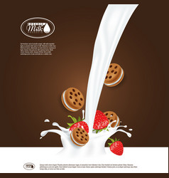 Realistic milk splash with strawberry and vector