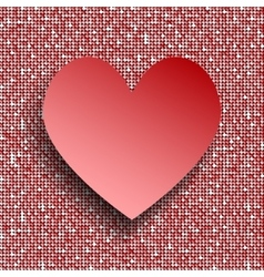 Red heart button on red sequin background vector