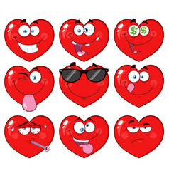 red heart cartoon emoji facecollection - 2 vector image