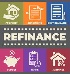 refinance concept with icons and signs vector image