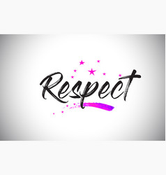 Respect handwritten word font with vibrant violet vector