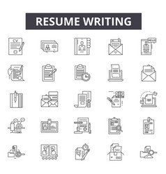 Resume writing line icons signs set vector