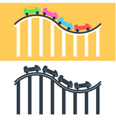 roller coaster logo or icon set multicolored and vector image