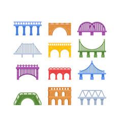 Set bridges urban architecture vector