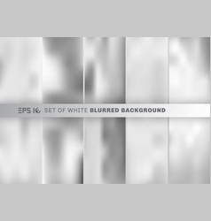 set of abstract white and gray blurred background vector image