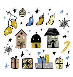 set of christmas design doodle elements ha vector image