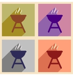 Set of flat icons with long shadow American BBQ vector