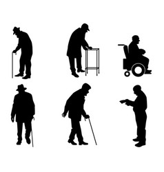 six old people silhouettes vector image