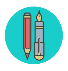 Stationery fountain pen and pencil vector