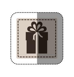 Sticker monochrome square with gift box vector