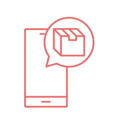Store inside bubble and smartphone line style icon vector