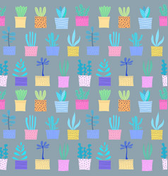 succulent plant seamless pattern background vector image