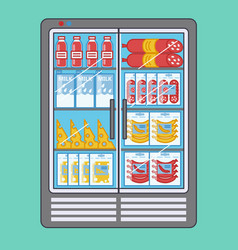 Supermarket refrigerator with variety products vector