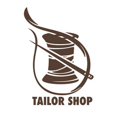 Tailor shop sketch with a needle and bobbin of vector